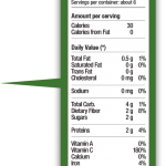 g fruit nutrition label