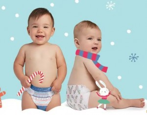 Babies with Winter Print Diapers